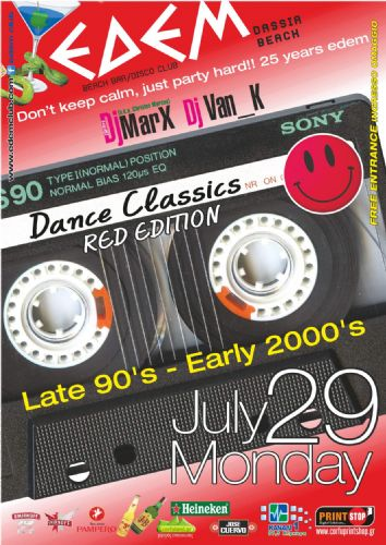 "Dance Classics ""Red edition"" (Late 90's – Early 2000's) – 29/7/2013"