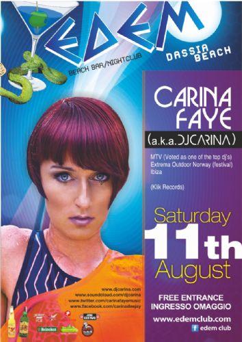 dj/producer : Carina Faye (a.k.a. dj Carina) @ Edem club (Norway) – 11/8/2012