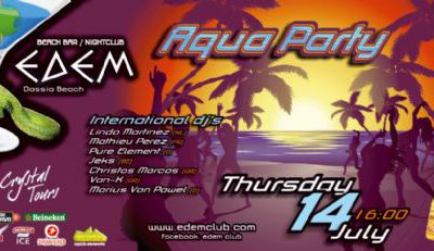 Thursday 14 July @ Edem club: 'Aqua Party'
