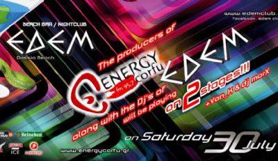 Saturday 30 July @ edem club: ENERGY CORFU fm 97,5