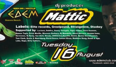 Tuesday 16 August: dj/producer Mattik (Elite records,Greelpound,Strangelove,Disobey)