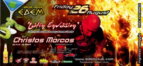 Friday 26 August: 'Latin Envasion' with Marcos Christos !!!
