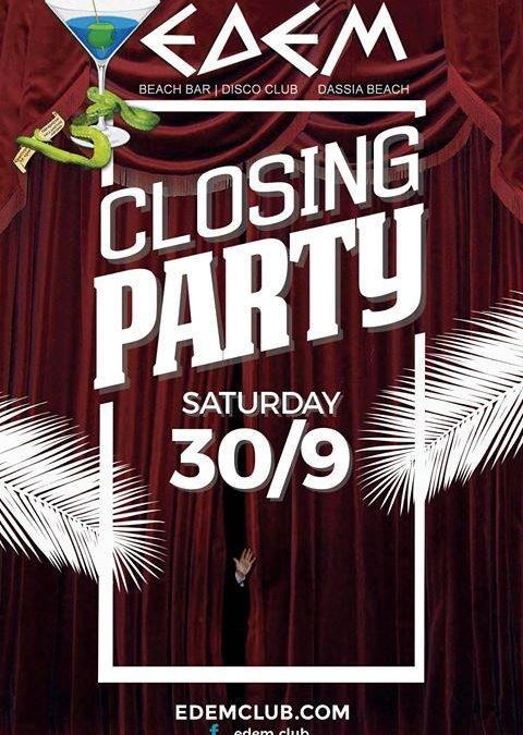 Closing Party @ Edem Beach Club | Saturday 30 September